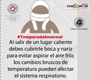 Exhorta PCM a oaxaqueños tomar precauciones  ante el ingreso del Frente Frio número 25