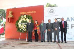 Preside Villacaña ceremonia cívica por el CII aniversario luctuoso de Francisco I Madero